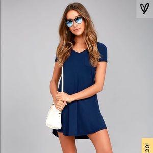 EUC Lulu's Better Together Navy Shirtdress Small